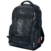 Lightpak Padded Laptop Backpack, 17 inch Capacity, Nylon, Black
