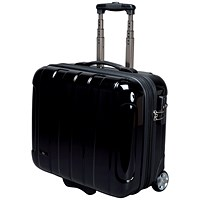 JSA Business Trolley with Removable Laptop Case, ABS Polycarbonate, Black