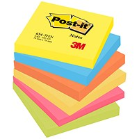 Post-it Colour Notes, 76x76mm, Energetic Palette Rainbow Colours, Pack of 6 x 100 Notes