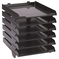 Avery Paperstack Self-stacking Letter Tray, A4, W250xD320xH300mm, Black, Pack of 6