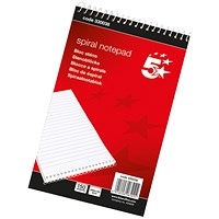 5 Star Headbound Spiral Notepad, 127x200mm, Ruled, 300 Pages, Pack of 10