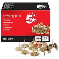5 Star Brassed Drawing Pins, 11mm Head, Pack of 150