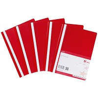 5 Star A4 Project Flat Files, Indexing Strip, Red, Pack of 5