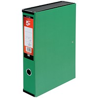 5 Star Box File, Spring Lock, 75mm Spine, Foolscap, Green, Pack of 5