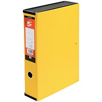 5 Star Box File, Spring Lock, 75mm Spine, Foolscap, Yellow, Pack of 5