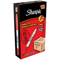 Sharpie Twin Tip Permanent Marker, Red, Pack of 12