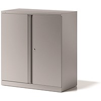 Bisley Low Steel Storage Cupboard, 1 Shelf, 1000mm High, Grey