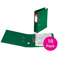 5 Star A4 Lever Arch Files, Plastic, Green, Pack of 10
