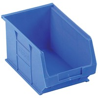 Heavy Duty Polypropylene Storage Bin, W240xD150xH132mm, Blue, Pack of 10
