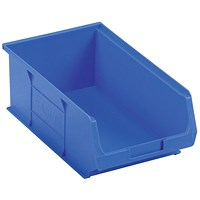 Heavy Duty Polypropylene Storage Bin, W350xD205xH132mm, Blue, Pack of 10