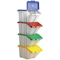 Storage Container Bin, 50 Litre, Assorted Lids, Pack of 4