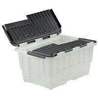 Strata Storage Box Duracrate Crates, 40 Litre, Black, Pack of 5