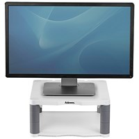 Fellowes Premium Monitor Riser, 5 Heights, 36kg Capacity, Platinum