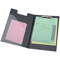 5 Star Executive Fold-over Clipboard with Pocket, Foolscap, Black