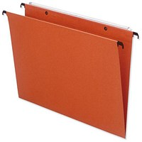 Bantex Linking Suspension Files, V Base, 15mm Capacity, Foolscap, Orange, Pack of 25