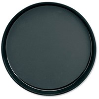 Dishwasher Safe Non-Slip Plastic Round Tray / Diameter 300mm / Black