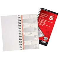 5 Star Wirebound Carbonless Telephone Message Book, 320 Notes, 80 Pages, 275x150mm