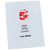 5 Star Binding Covers, 250gsm, Plain, Gloss White, A4, Pack of 100