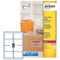 Avery Clear Laser Addressing Labels / 8 per Sheet / 99.1x67.7mm / L7565-25 / 200 Labels