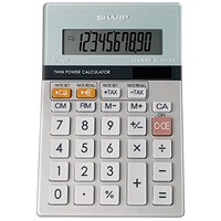 Sharp Desktop Calculator / 10 Digit / 3 Key / Battery/Solar Power / Grey