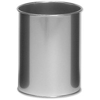 Durable Round Bin, Metal, 15 Litres, Silver