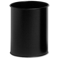 Durable Round Bin, Metal, 15 Litres, Black