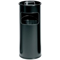 Durable Ashtray Waste Bin with 1.5 Kilos of Silver Sand 17 Litres with 2 Litre Ashtray Black