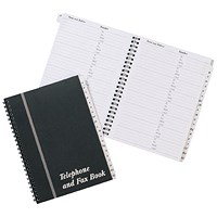 Wirebound Board Cover Telephone and Fax Index Book - A5