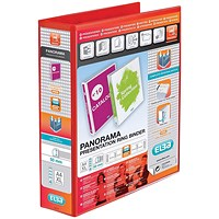 Elba Panorama Presentation Binder, A4, 4 D-Ring, 50mm Capacity, Red, Pack of 4