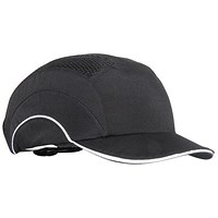 JSP Ventilated Hard Cap, Adjustable with Short Peak, A1 Plus, 50mm, Black