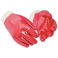 PVC & Knitted Wrist Gloves, Large, Red, 12 Pairs
