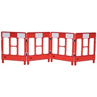 JSP Workgate 4 Gate Barrier, Lightweight Linking-clip, Reflective Panel, Red