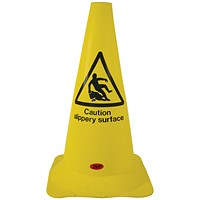 JSP Safety Cone PVC Caution Slippery Surface H500mm Yellow/Black text