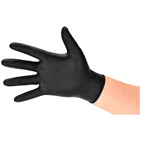 Nitrile Gloves, Medium, Black, Pack of 100