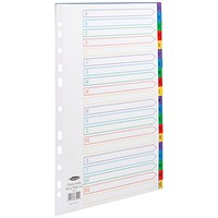 Concord Plastic Index Dividers, Extra Wide, A-Z, A4, Assorted
