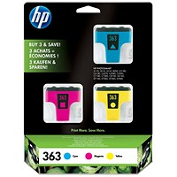HP 363 Ink Cartridges - Cyan, Magenta and Yellow (3 Cartridges)