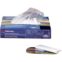 Rexel Wide Entry Shredder Waste Sacks, Capacity 200 Litres, Pack of 50