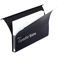 Rexel CrystalFiles Extra Secura Suspension Files, Square Base, 30mm Capacity, Foolscap, Black, Pack of 20