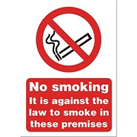 Stewart Superior No Smoking Sign 148x210mm (A5) White Self-adhesive Vinyl