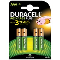 Duracell Rechargeable Battery, Accu NiMH 750mAh, AAA - Pack of 4