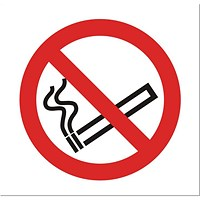 Stewart Superior No Smoking Sign for Vehicles 100x100mm Clear Self-adhesive Vinyl