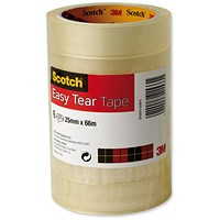 Scotch Easy Tear Transparent Tape, 25mm x 66m, Pack of 6