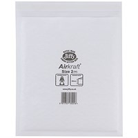 Jiffy Airkraft No.2 Bubble-lined Postal Bags, 205x245mm, Peel & Seal, White, Pack of 100