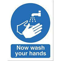 Stewart Superior PVC Access Prohibition & General Signs - Now Wash Your Hands Please - 150x200mm