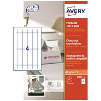 Avery Printable Business Tent Cards, 120mm x 45mm, 4 per Sheet, White, 190gsm, Pack of 40