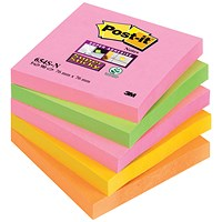 Post-it Super Sticky Notes, 76x76mm, Capetown, Pack of 5 x 90 Notes