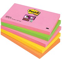 Post-it Super Sticky Notes, 76x127mm, Capetown Rainbow, Pack of 5 x 90 Notes