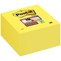 Post-it Super Sticky Note Cube, 76x76mm, Ultra Yellow, 350 Notes per Cube