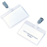 5 Star Name Badges, Self-Laminating, Plastic Clip, 90x54mm, Pack of 25