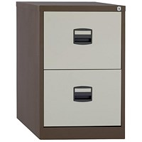 Trexus Foolscap Filing Cabinet, 2-Drawer, Brown & Cream